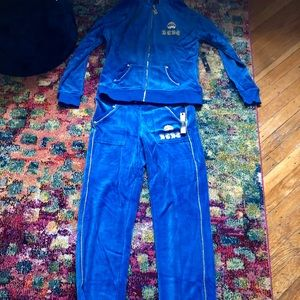 Brand new velour BCBG sweat suit- blue